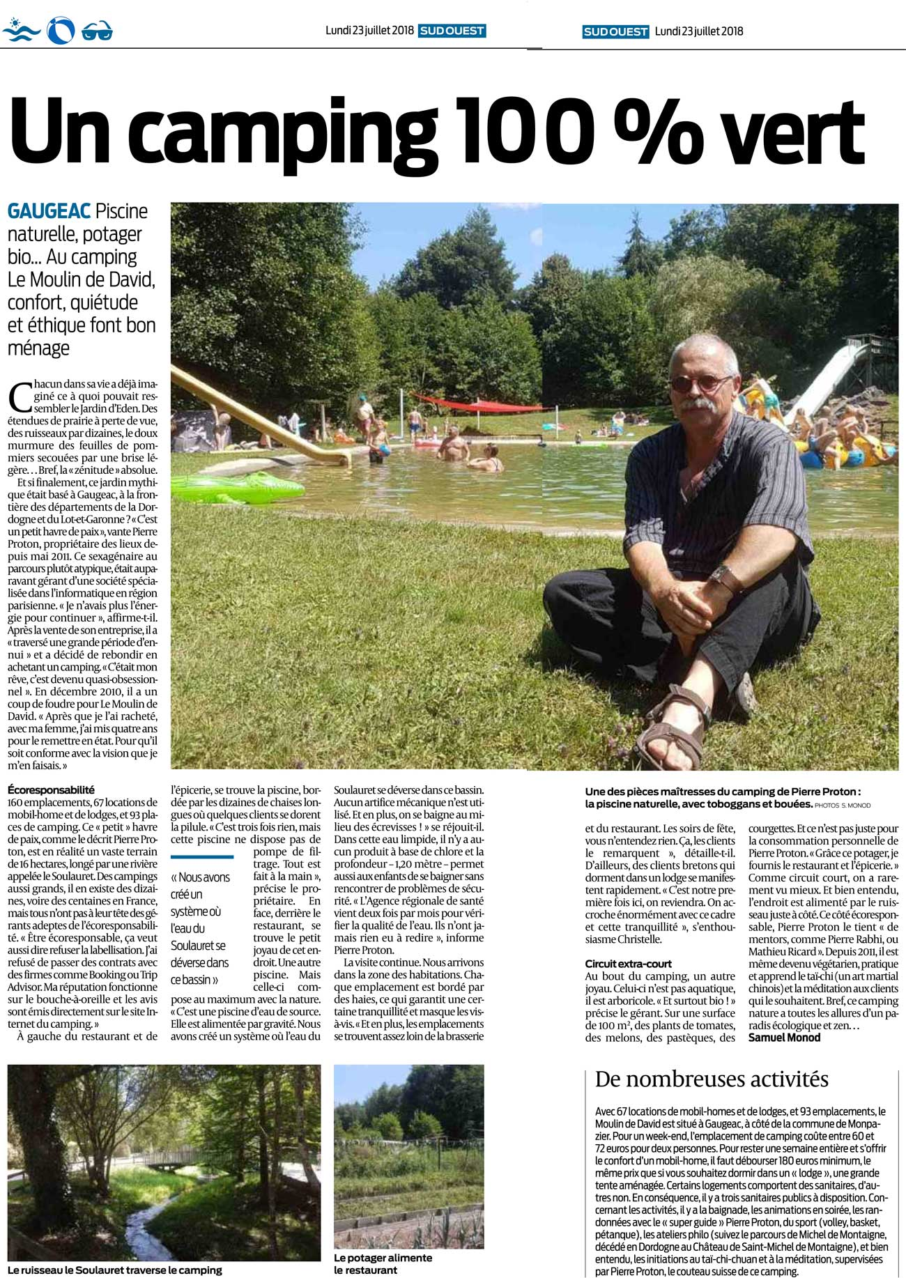 Article journal Sud-Ouest du 23/07/2018